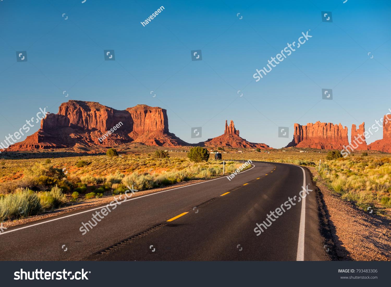 Empty scenic highway in Monument Valley, Arizona, USA #793483306