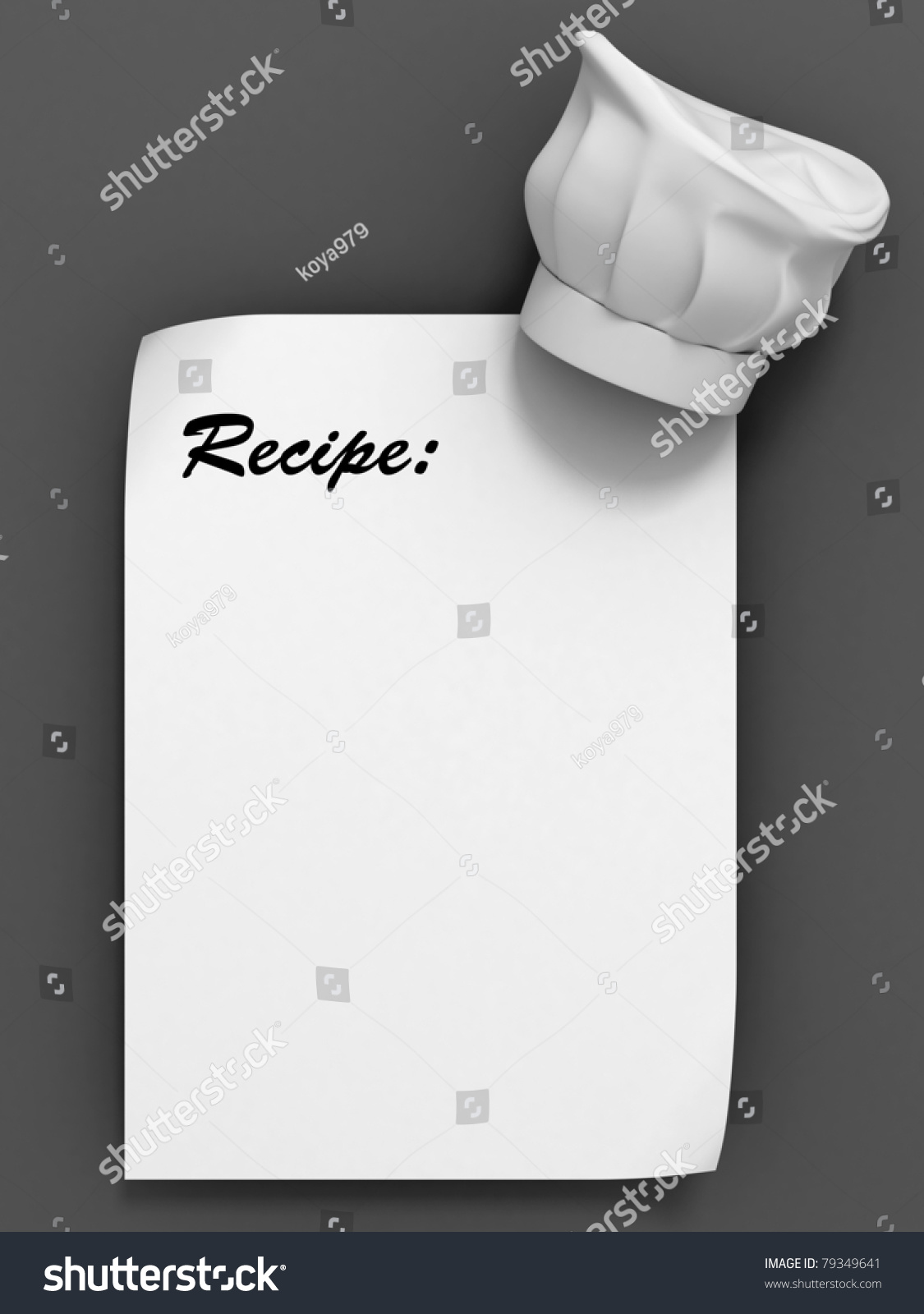chef hat template printable - recipe template chef hat on blank stock illustration