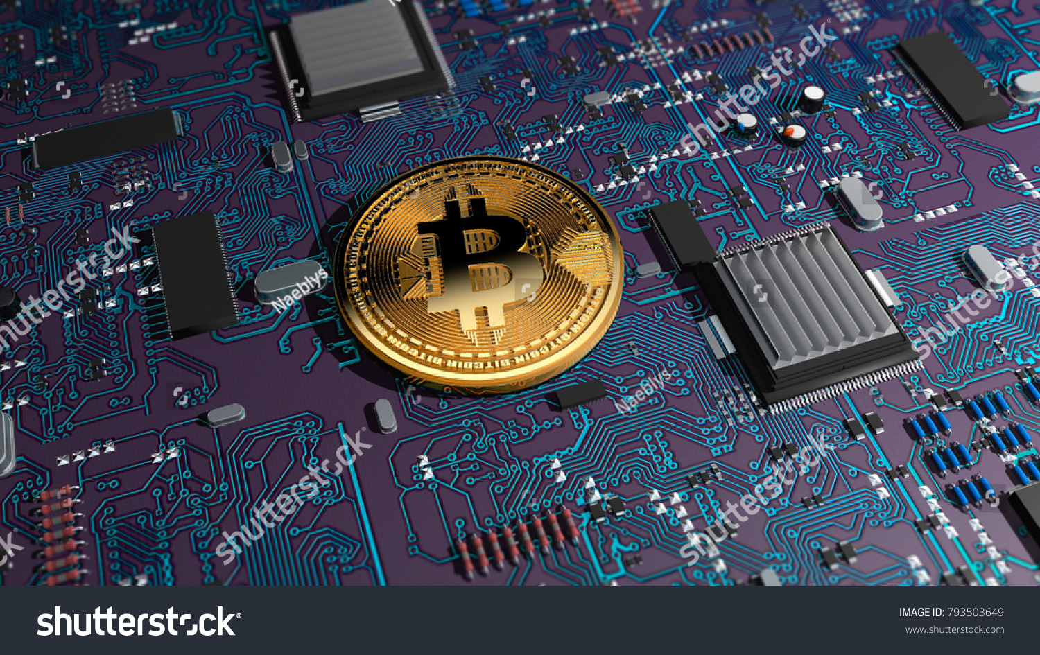 Bitcoin Crypto Currency Electronic Money Virtual Stock Illustration Printed Circuit Board On A Graphics Card Transitions