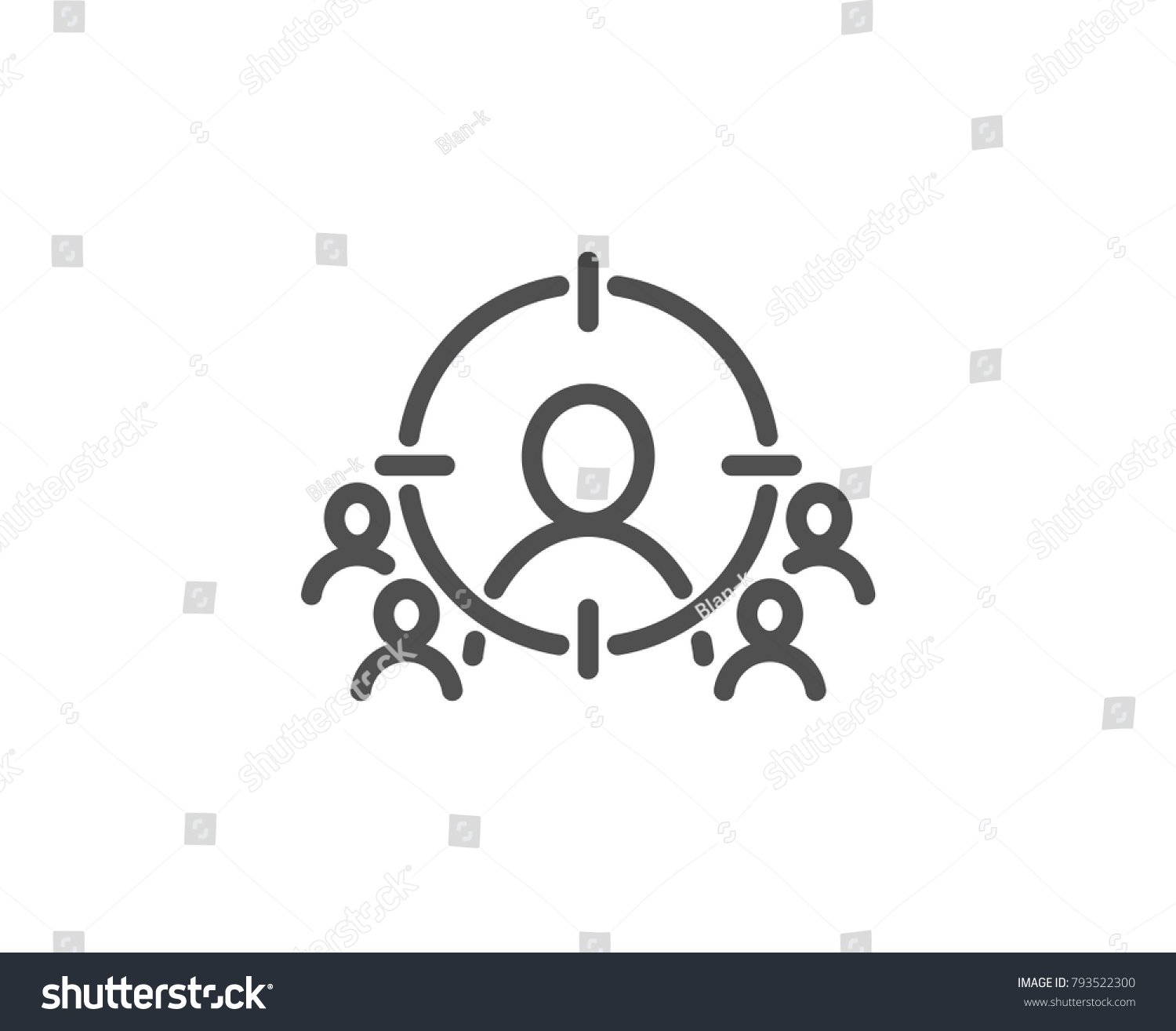 Business targeting line icon marketing target stock vector marketing target strategy symbol aim with people sign quality buycottarizona Image collections