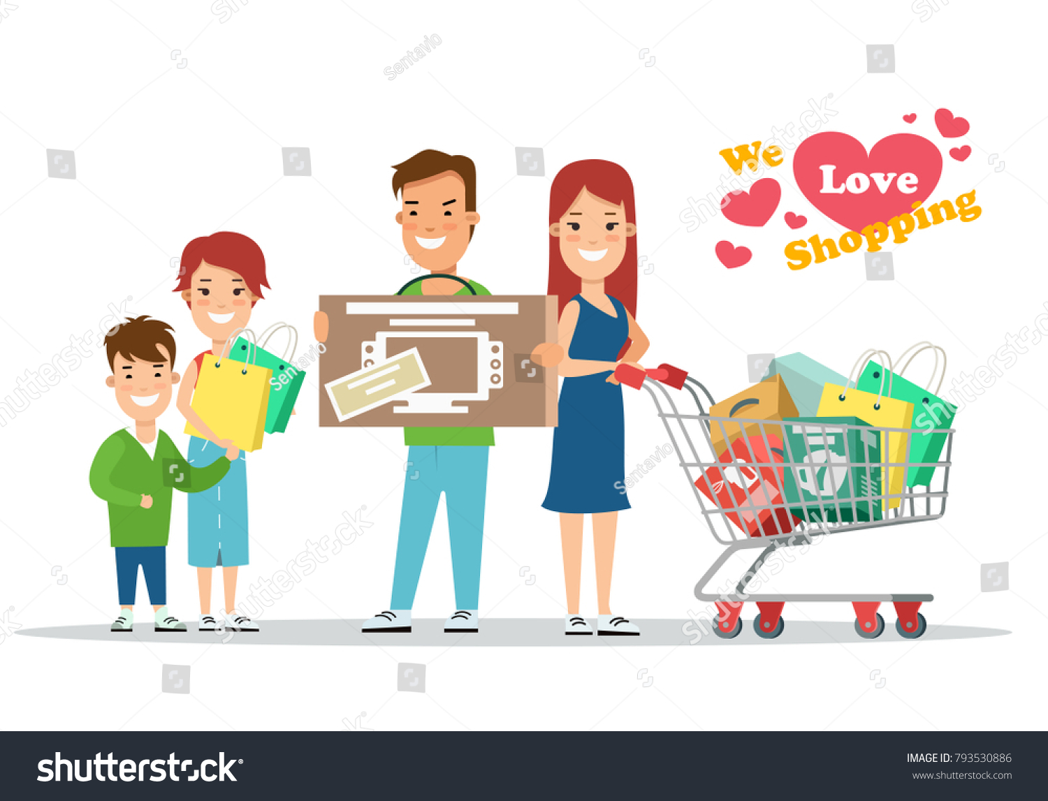 9ce2da90295e1 Flat Happy parents and children with purchases on cart vector illustration.  Son and daughter with mother and father. Family shopping concept. - Vector