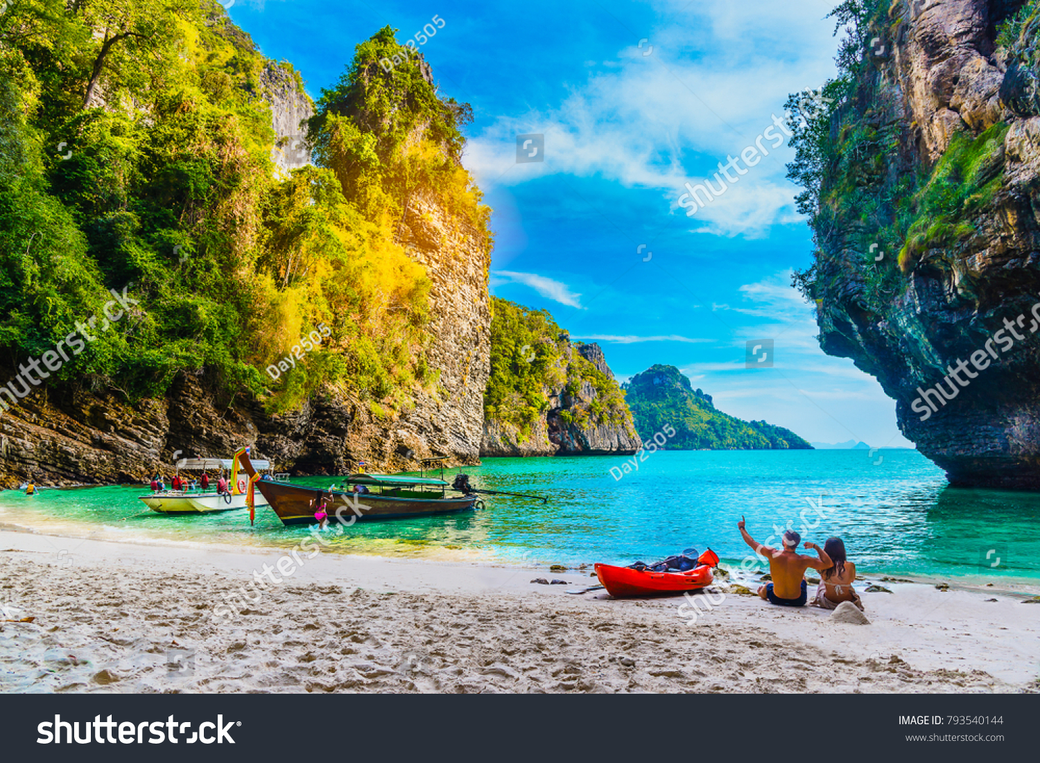 landscape natural sea beach on small stock photo (royalty free