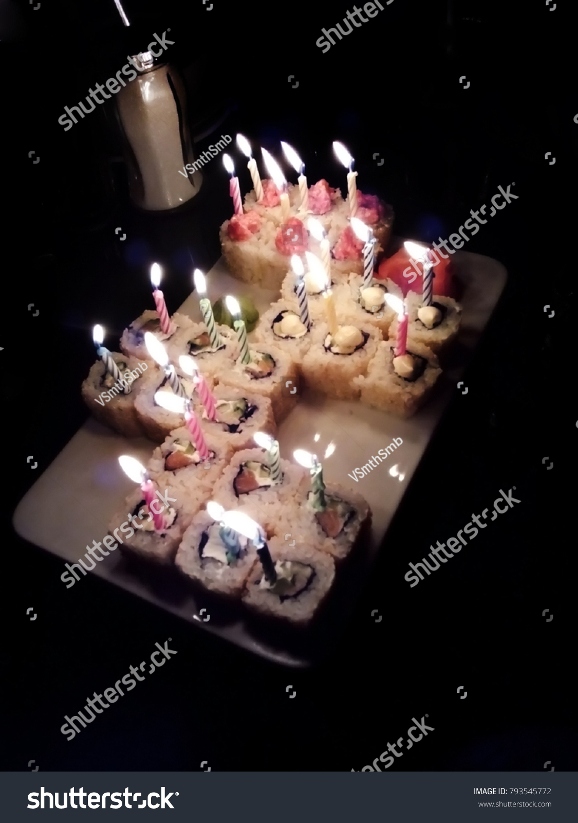 Excellent Sushi Rolls Candles Birthday Cake Stock Photo Edit Now 793545772 Personalised Birthday Cards Veneteletsinfo