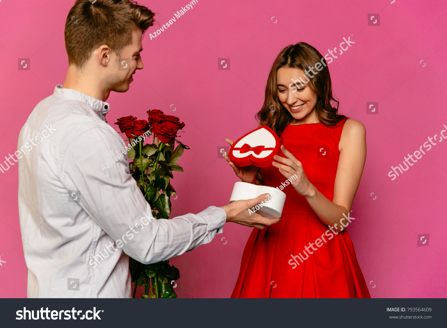 Attractive Guy Making Gift Making Gift Stock Photo 793564609 ...
