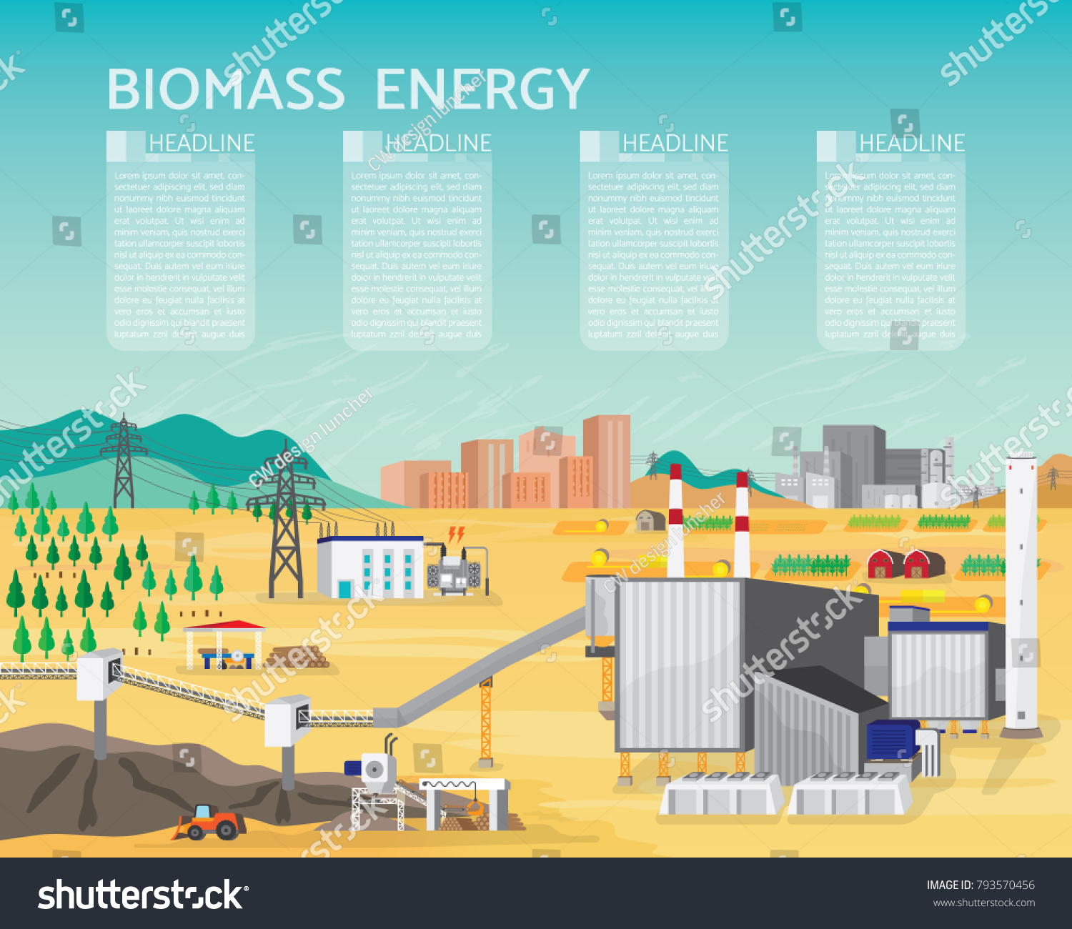 Biomass Energy Biomass Power Plant Boiler Stock Vector (Royalty Free ...