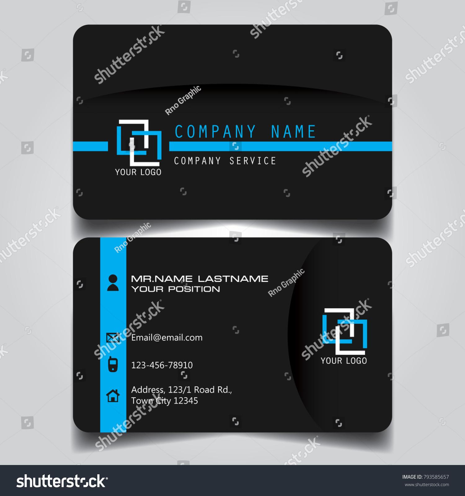 Dark Blue Name Card Business Card Stock Vector 793585657 - Shutterstock