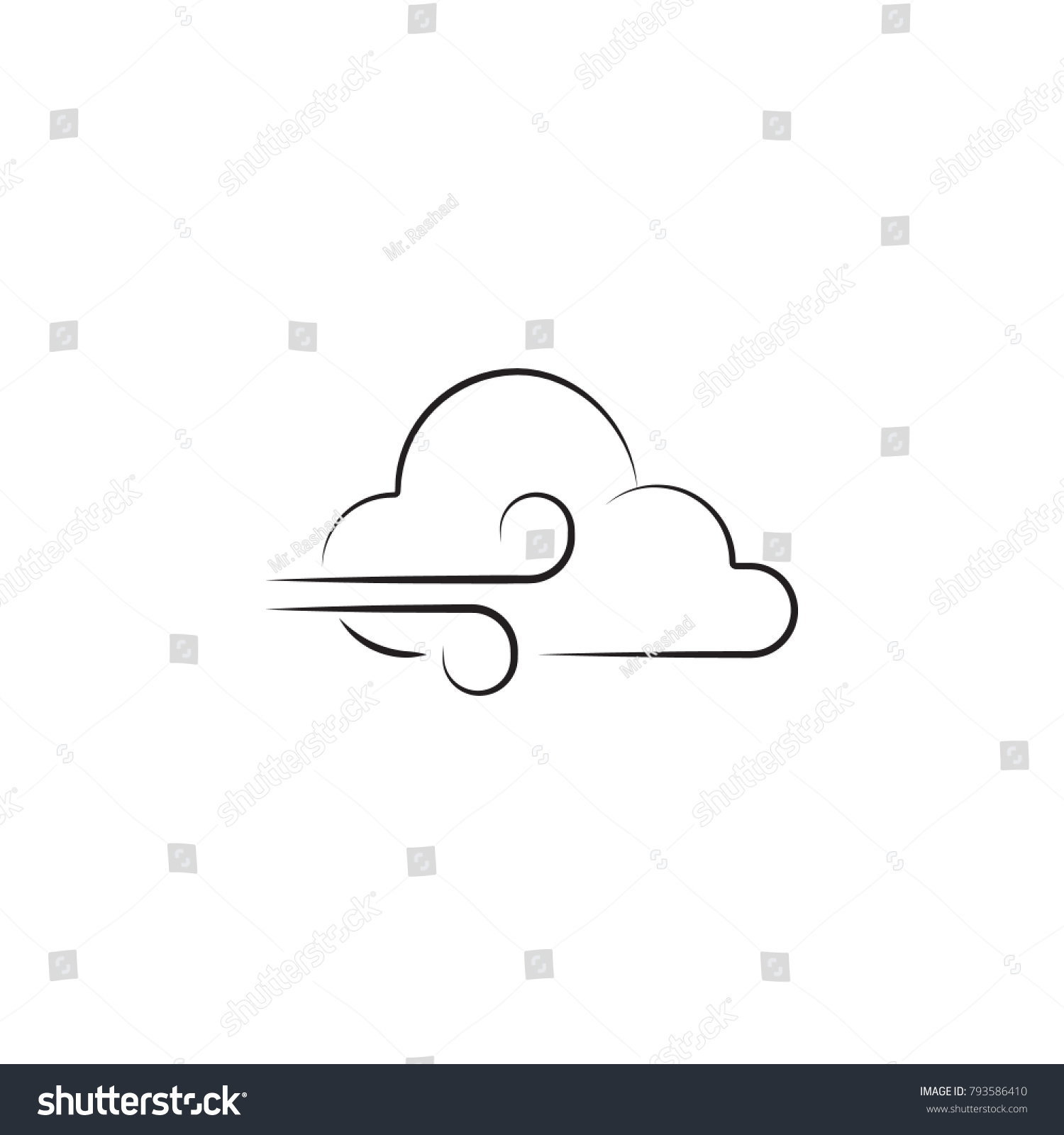 Wind Sign Icon Elements Weather Signs Stock Vector Royalty Free