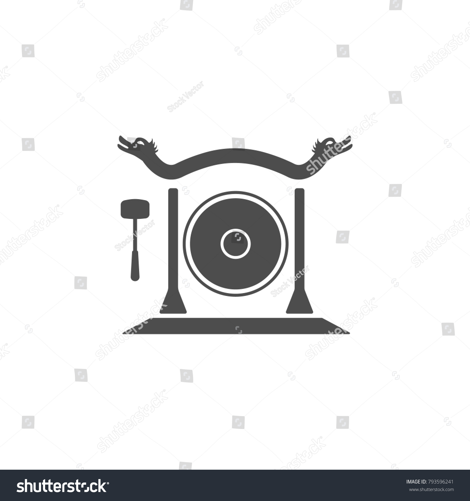 Gong Icon Elements Chinese Culture Icon Stock Vector 793596241