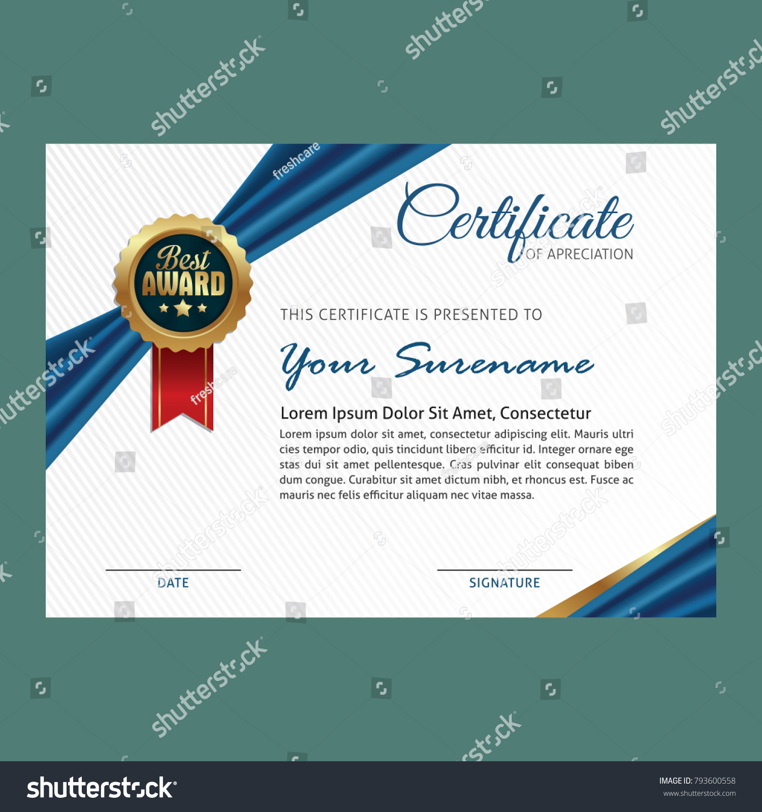 Certificate Template Luxury Ribbon Modern Pattern Stock Vector Frescare With And Red Blue Golden Shapes