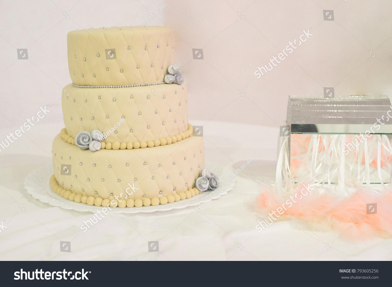 Wedding Cake Gray Flower Decoration Pearls Stock Photo (Edit Now ...