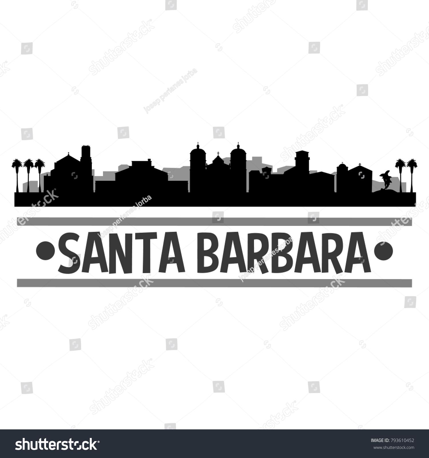 Santa Barbara California Usa Usa Skyline Stock Vector