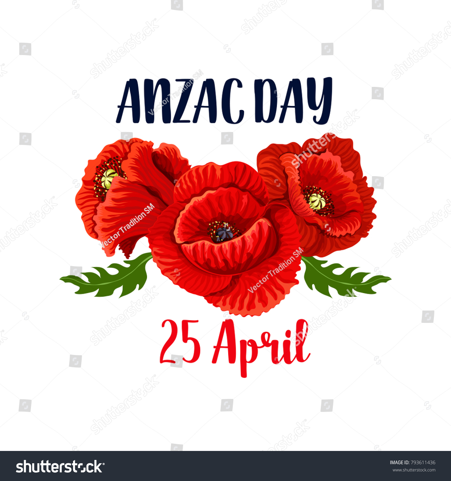 Anzac Day Red Poppy Flowers Icon Stock Vector 793611436 Shutterstock