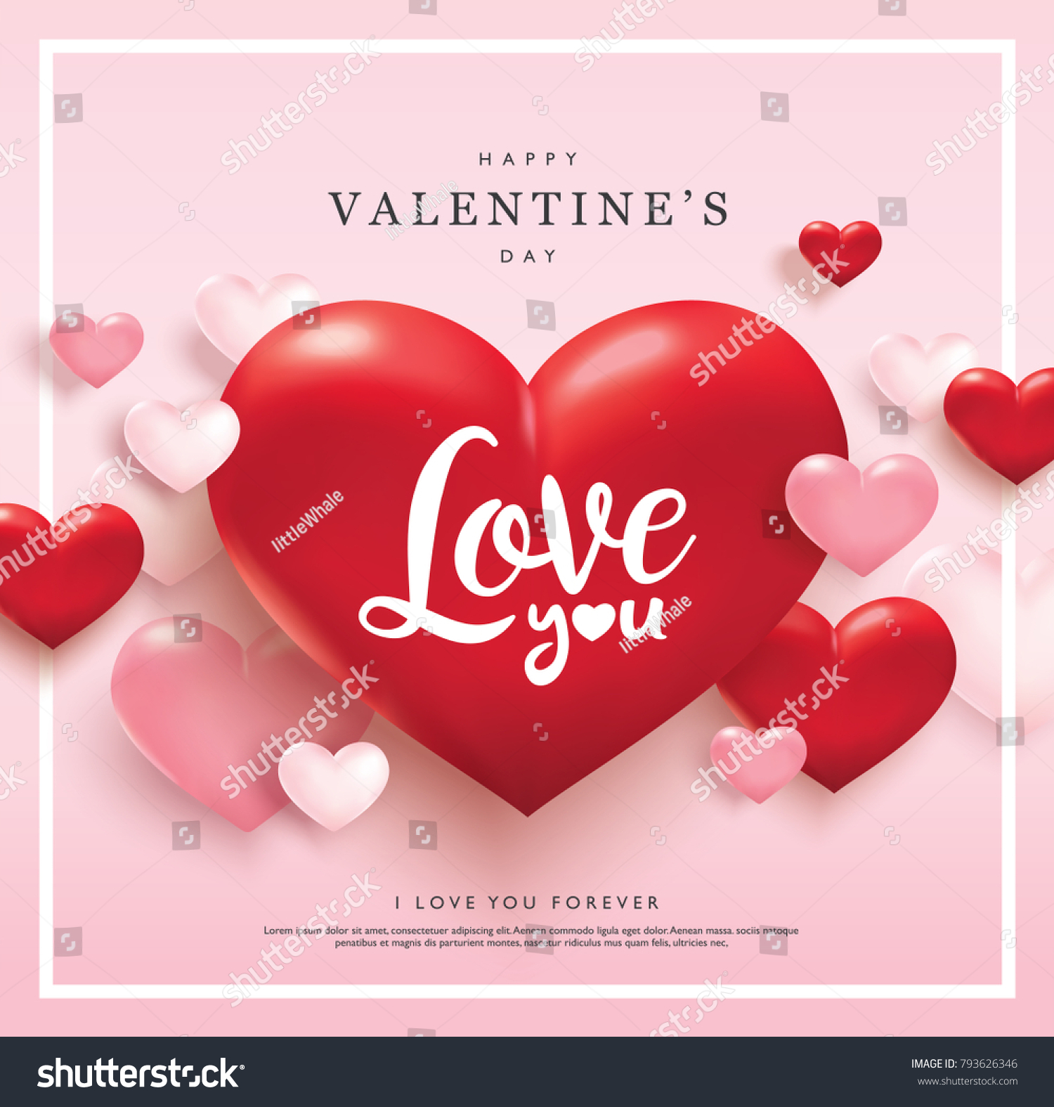 Happy Valentines Day Greeting Card Pink Stock Vector Royalty Free