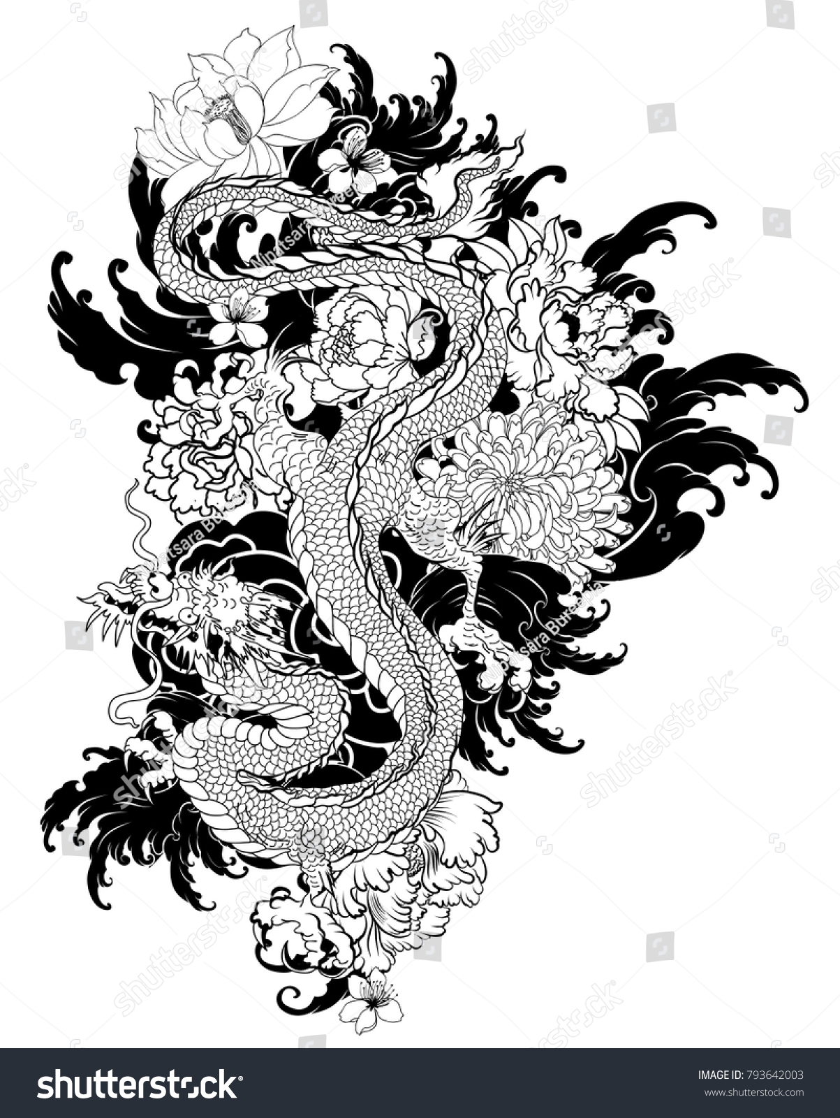 Old Dragon Flower Tattooillustration Chinese Dragon Stock Vector Royalty Free 793642003