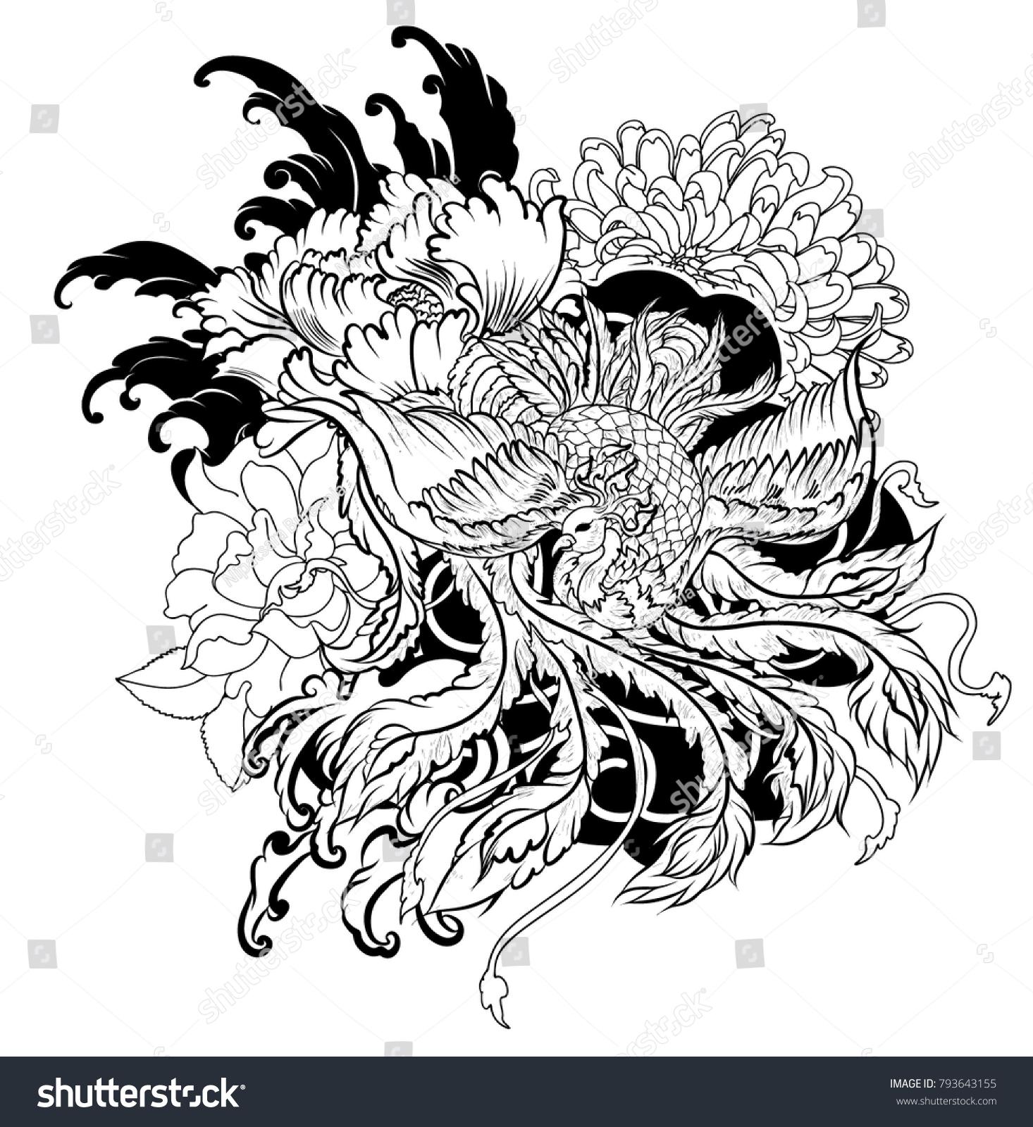 Black White Old Dragon Flower Tattoo Illustration Stock Vector