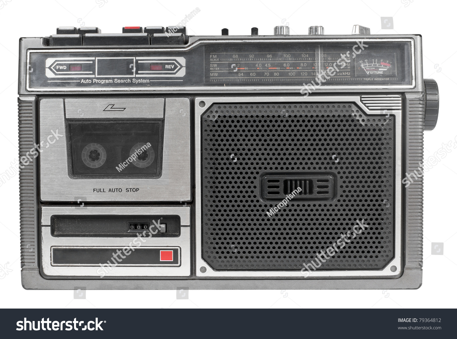 vintage mono radio cassette recorder isolated over white. Black Bedroom Furniture Sets. Home Design Ideas