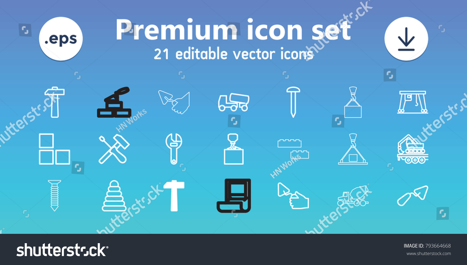 Build Icons Set 21 Editable Outline Stock Vector 793664668 ...