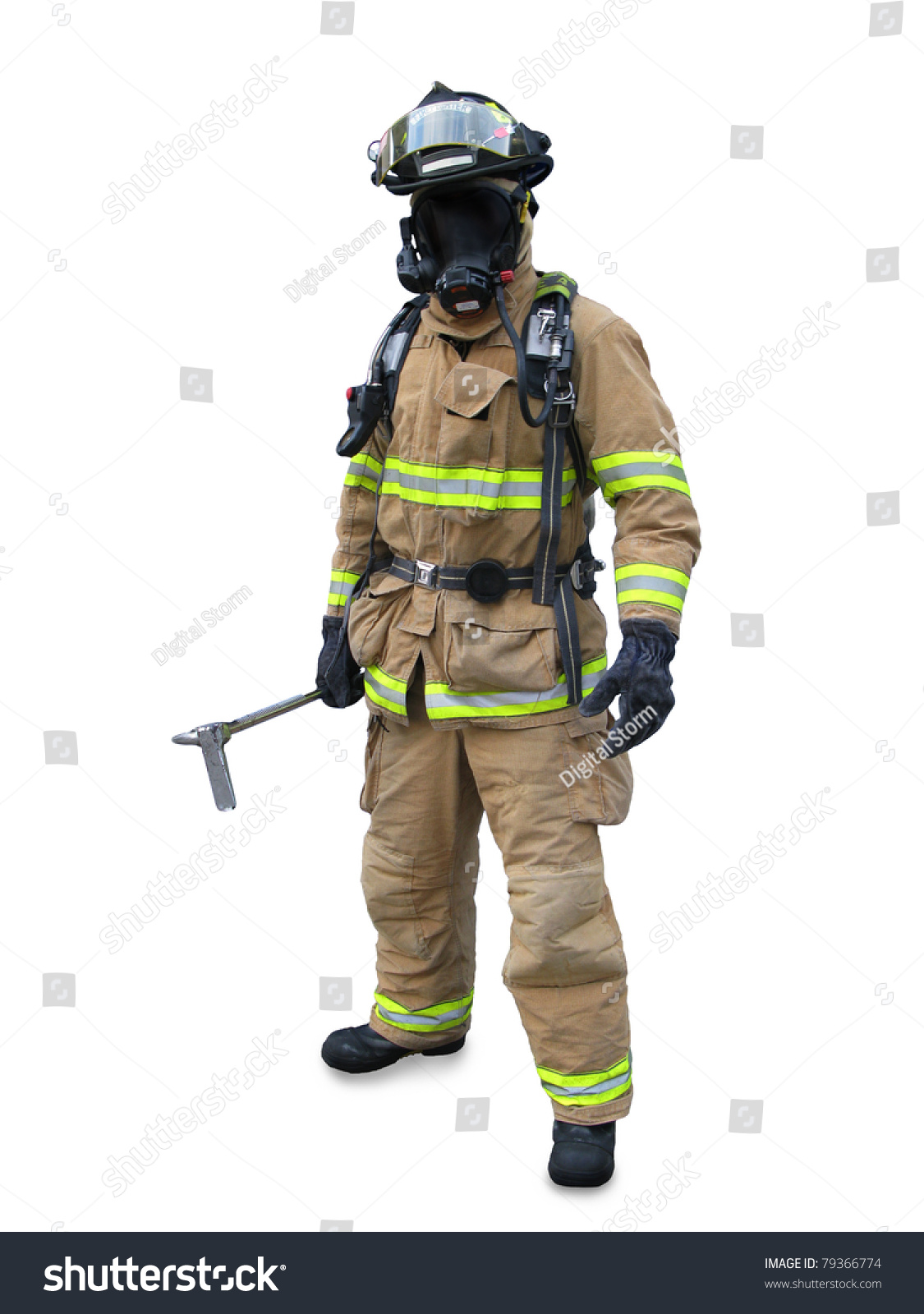 modern firefighter gear equipment isolated on stock photo 79366774