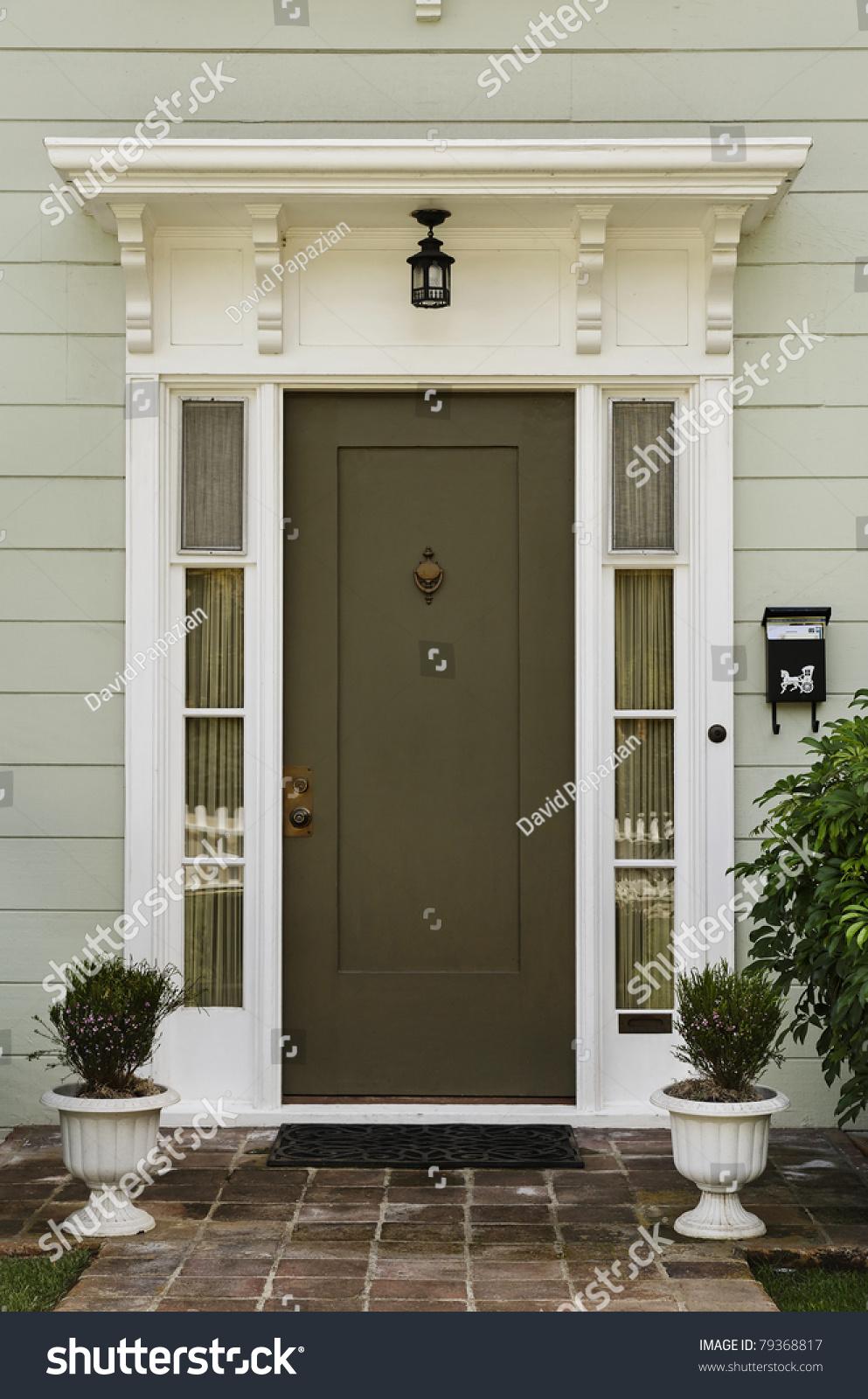 wooden front door home glass panels stock photo 79368817 shutterstock. Black Bedroom Furniture Sets. Home Design Ideas