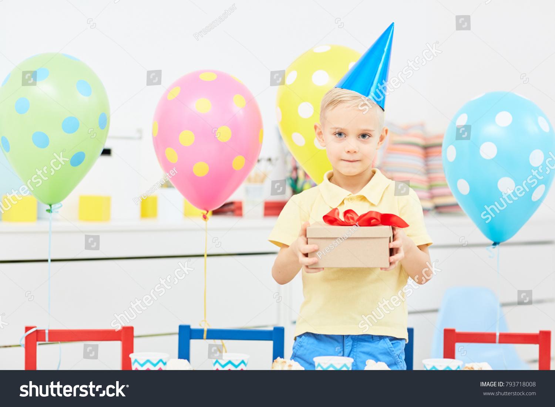 Adorable Boy Holding Box Birthday Gift Stock Photo Edit Now