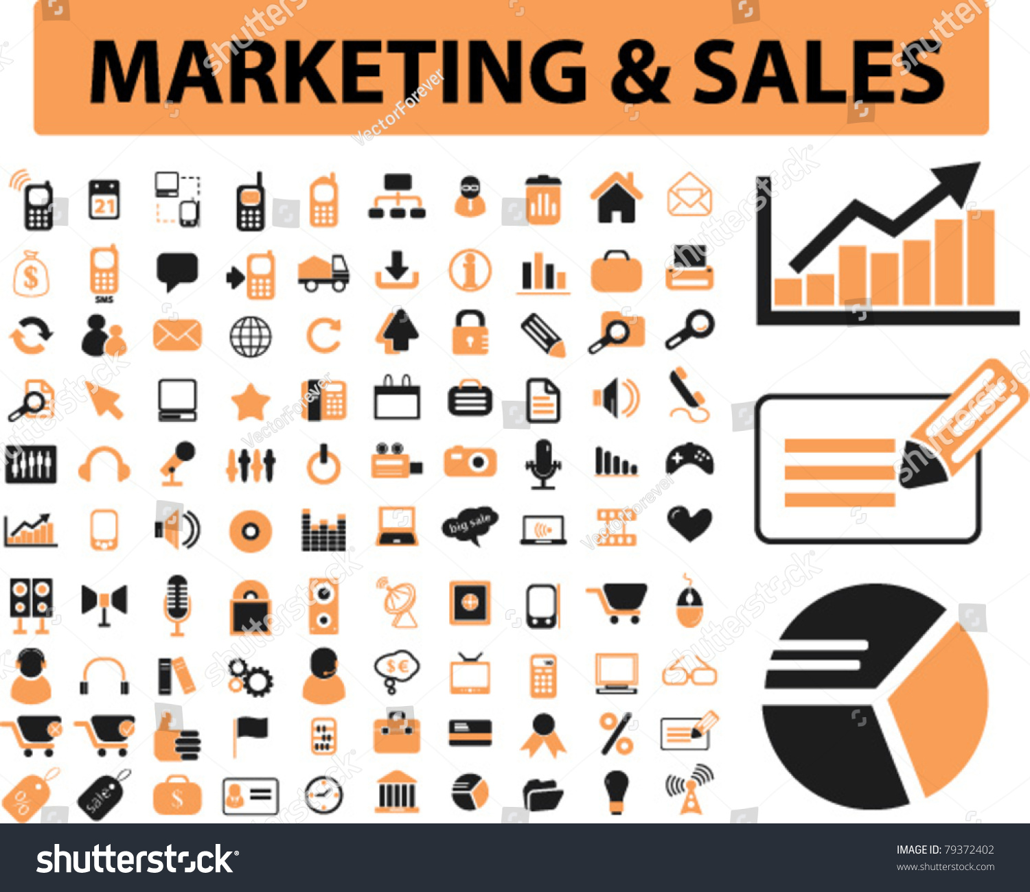 Marketing Sales: Marketing Sales Icons Signs Vector Illustrations Stock