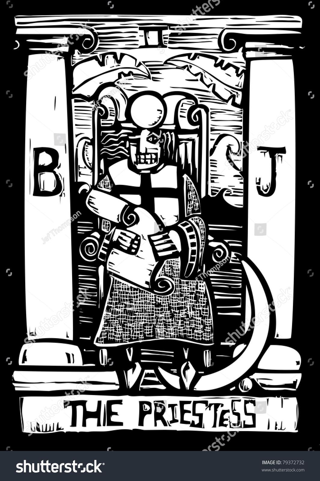 Tarot Card Number Three Priestess Stock Vector 79372732