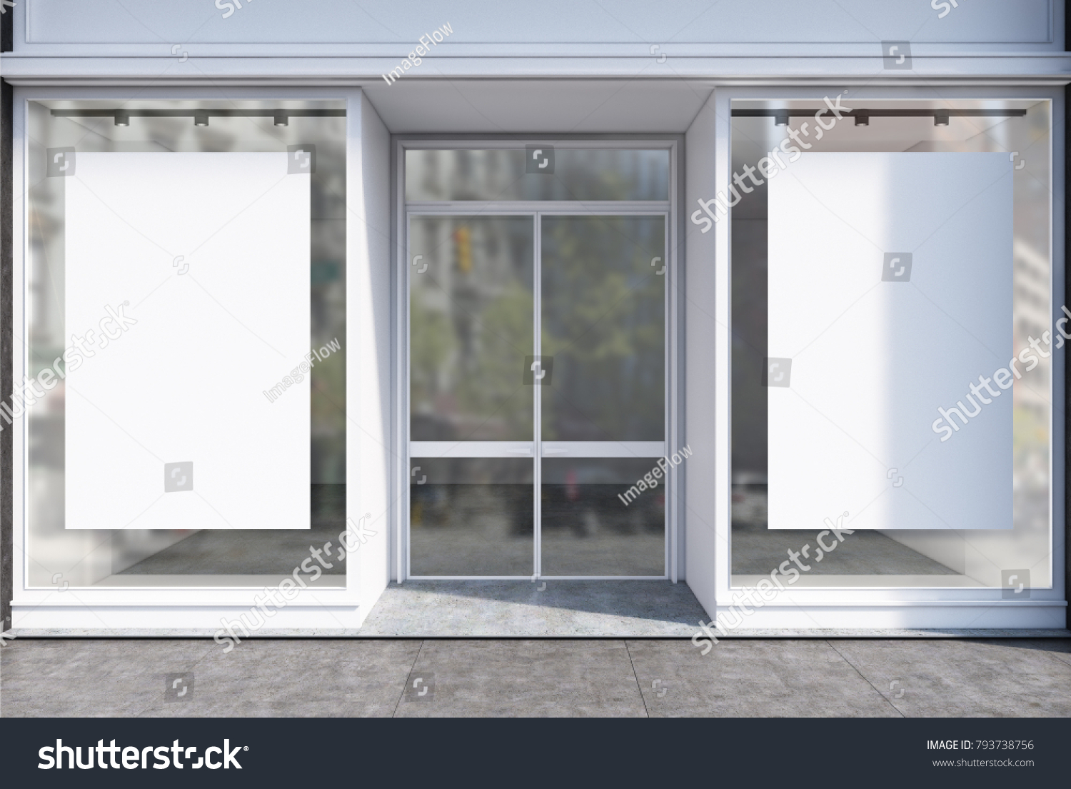 Glass Coffee Shop Facade Two Vertical Stock Illustration 793738756