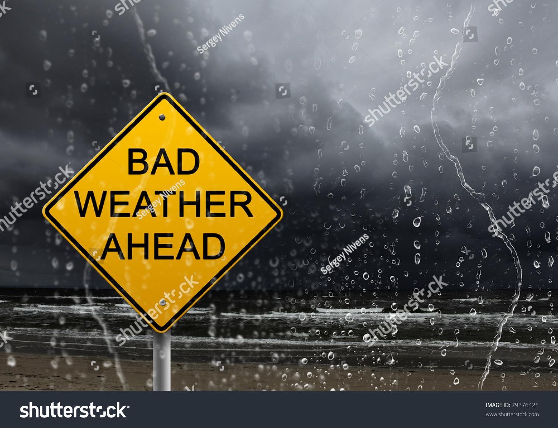 Yellow Warning Sign Bad Weather Ahead Stock Photo 79376425 ...