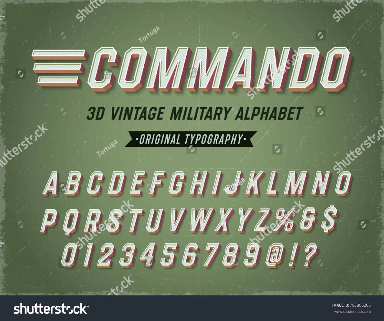 Commando vintage retro 3d military alphabet army font original athletic department typeface