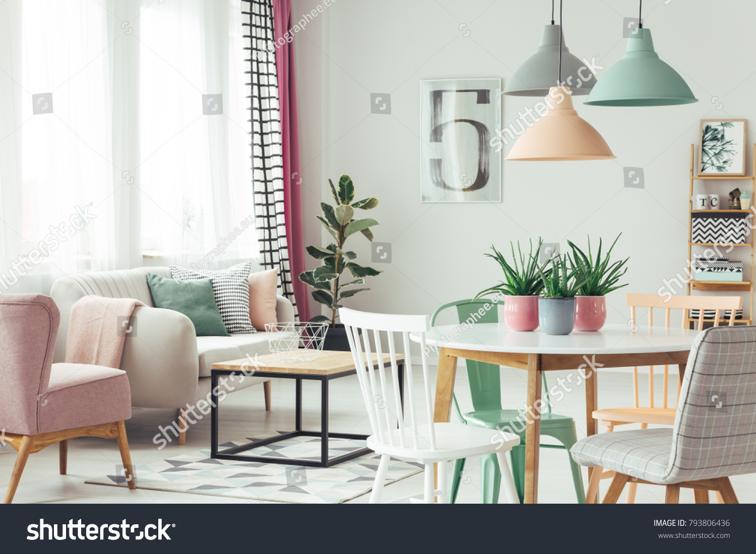 White Grey Green Chair Round Table Stock Photo (Royalty Free ...