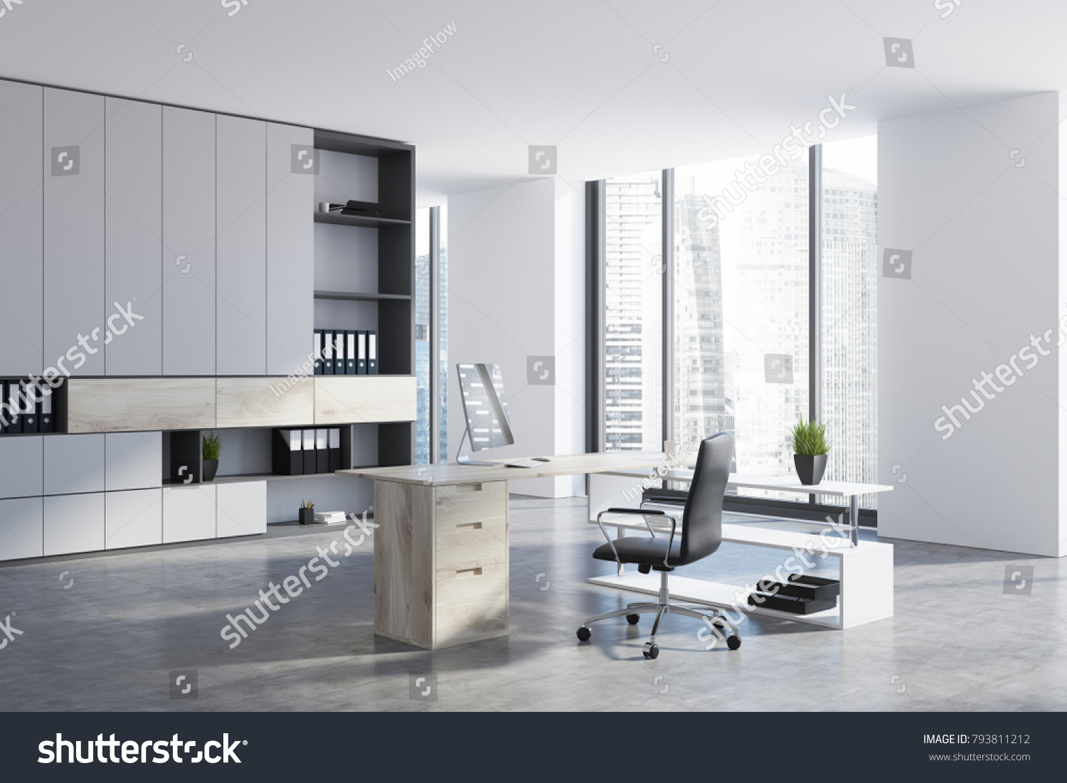 Modern Ceo Office Interior White Wooden Stock Illustration 793811212