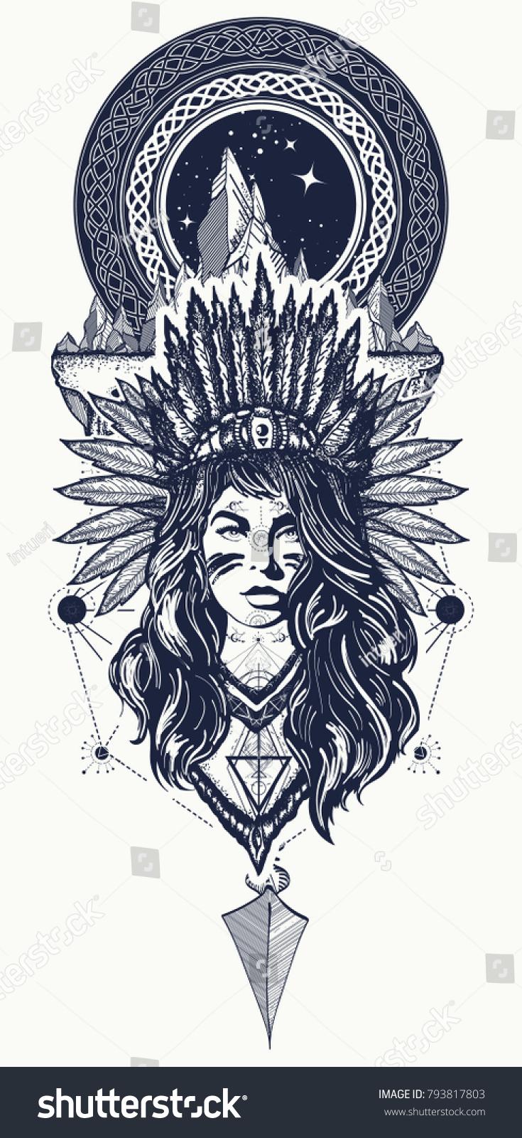 Tribal Woman Mountains Tattoo Tshirt Design Stock Vector Royalty