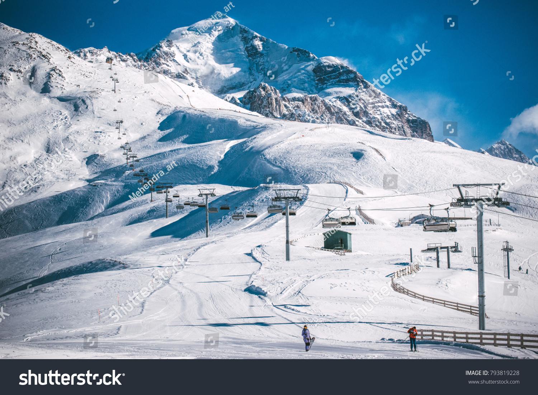 mountain ski resort georgia swaneti tetnuldi stock photo (edit now
