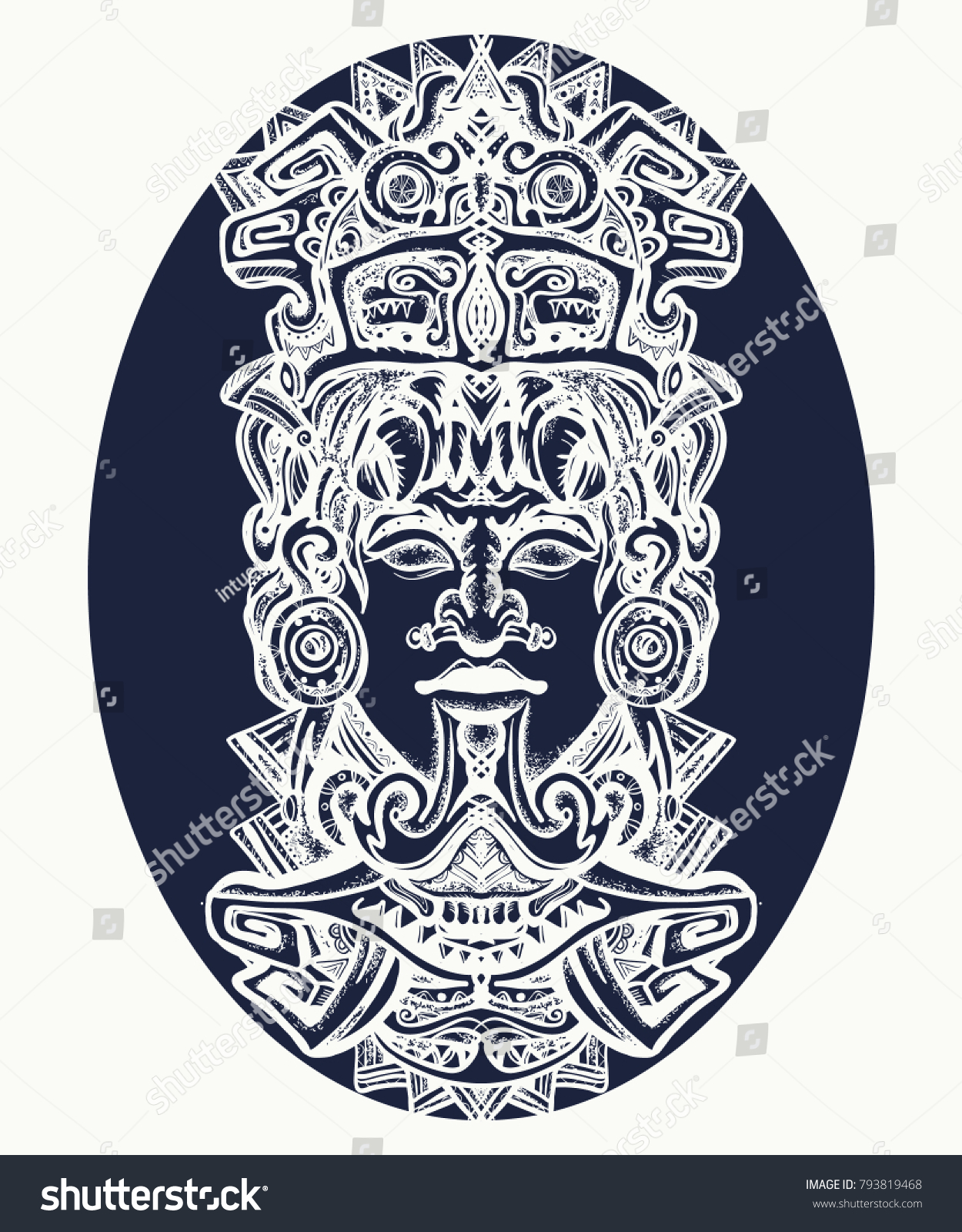 Aztec Temple Tattoo indian mayan carved stone tattoo art   royalty-free stock image