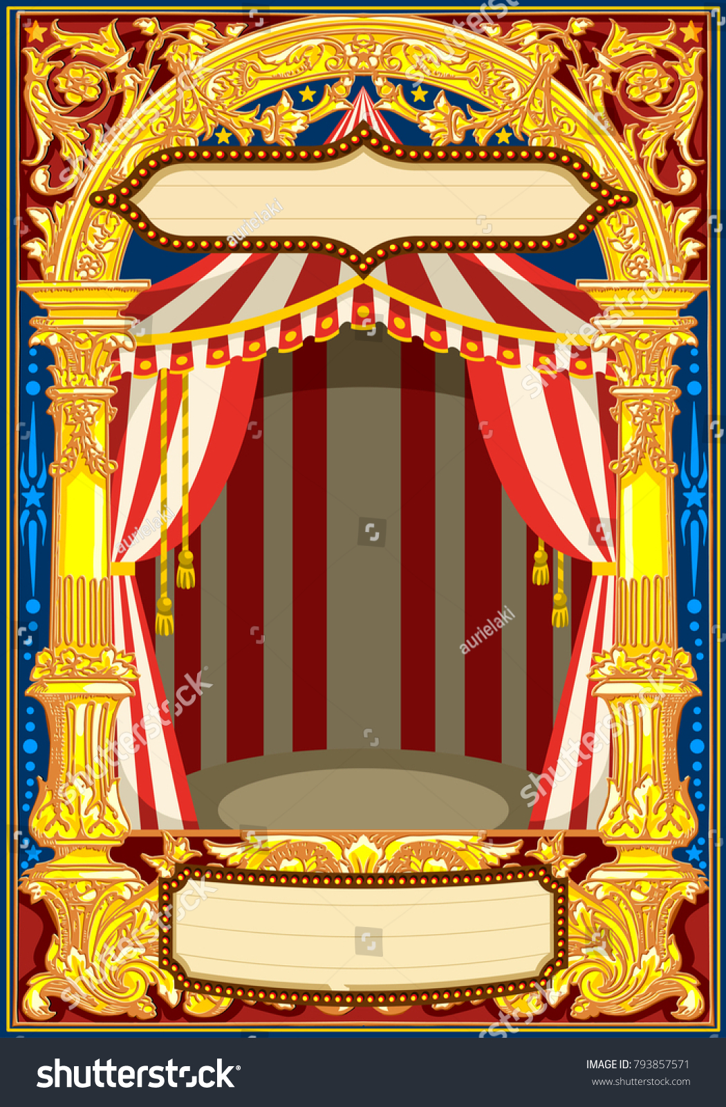 carnival poster template circus vintage theme のベクター画像素材