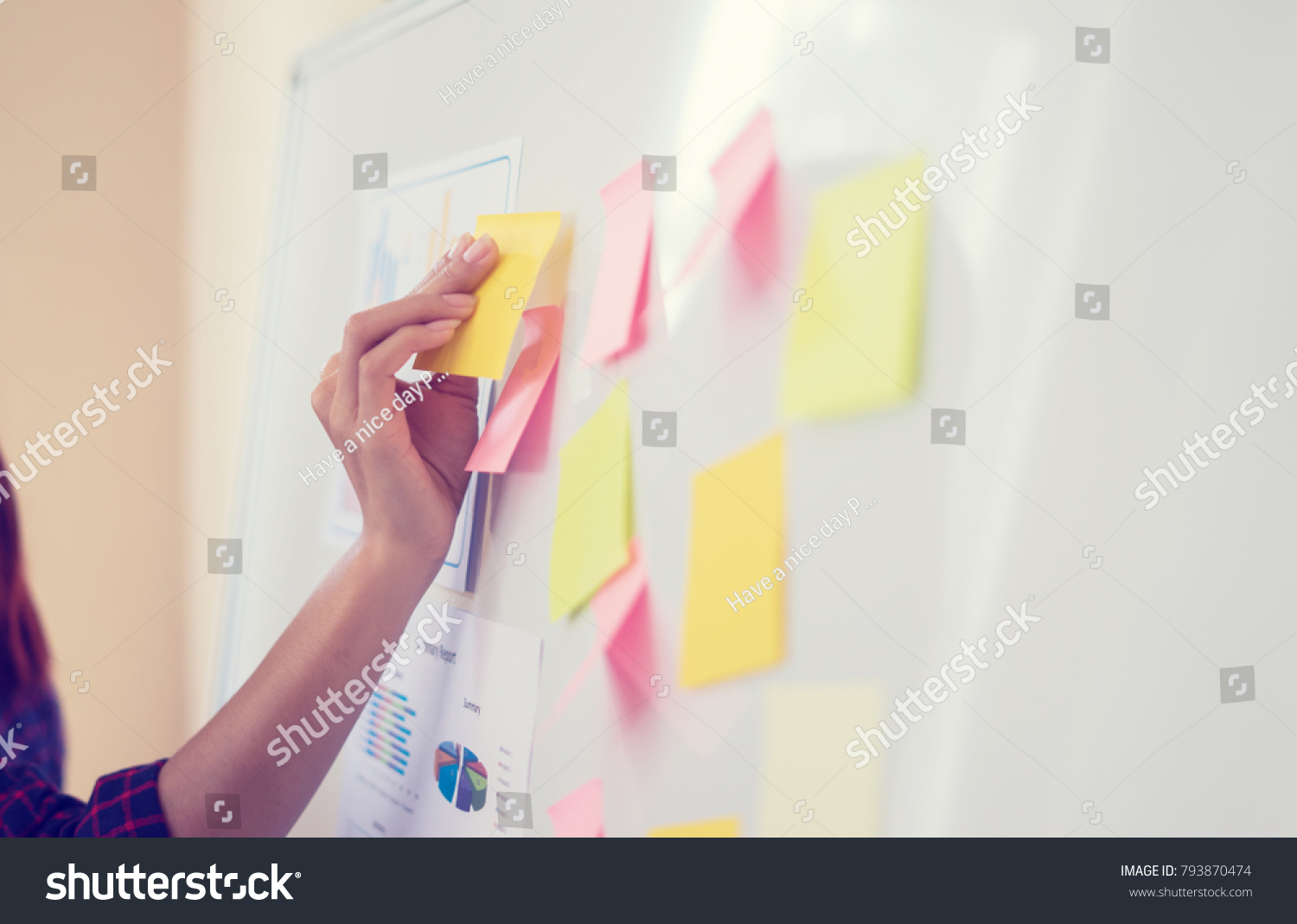 post business office. Business People Meeting At Office And Use Post It Notes To Share Idea. Brainstorming Concept B