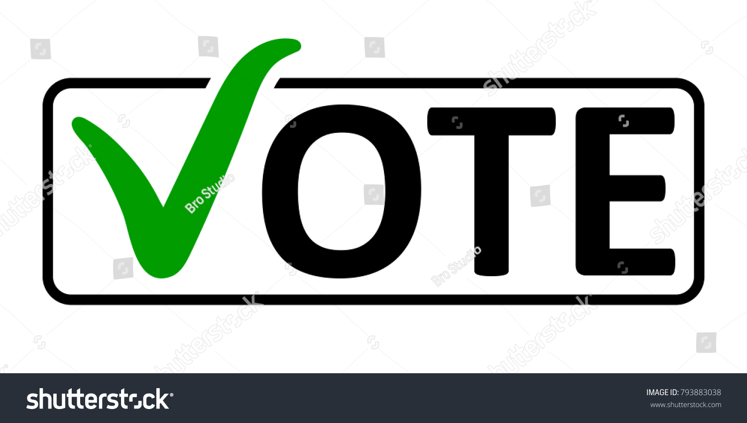 Word Vote Green Checkmark Instead Letter Stock Vector Royalty Free