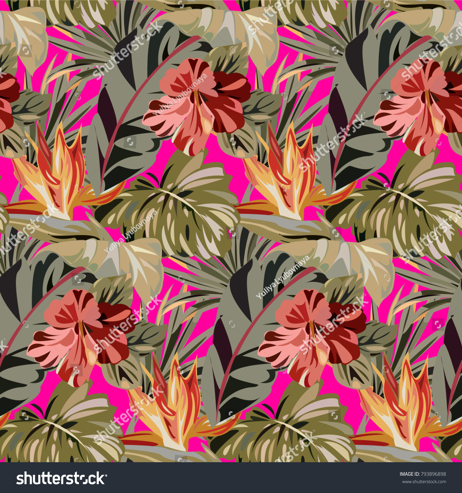 Seamless pink pattern with tropical exotic flowers and leaves id 793896898 mightylinksfo