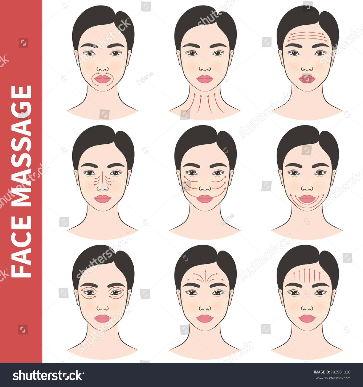 Different Woman Face Types Vector Illustration Cosmetic Face Shapes
