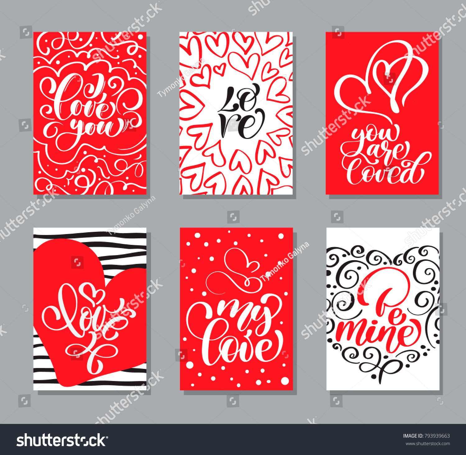 Vector Valentines Day Cards Templates Hand Drawn February 14 Gift