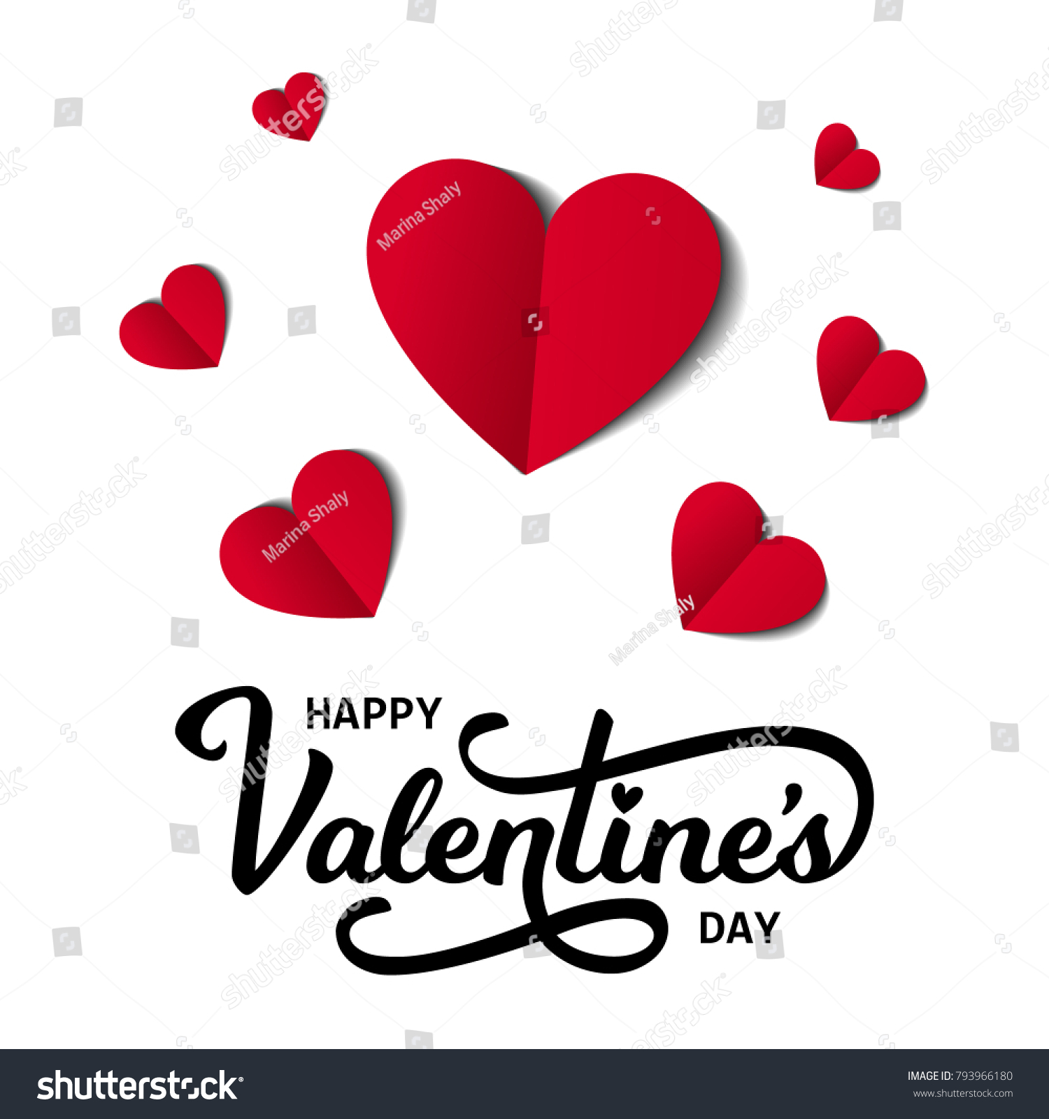 Happy Valentines Day Card With Text And Hearts Vector Illustration