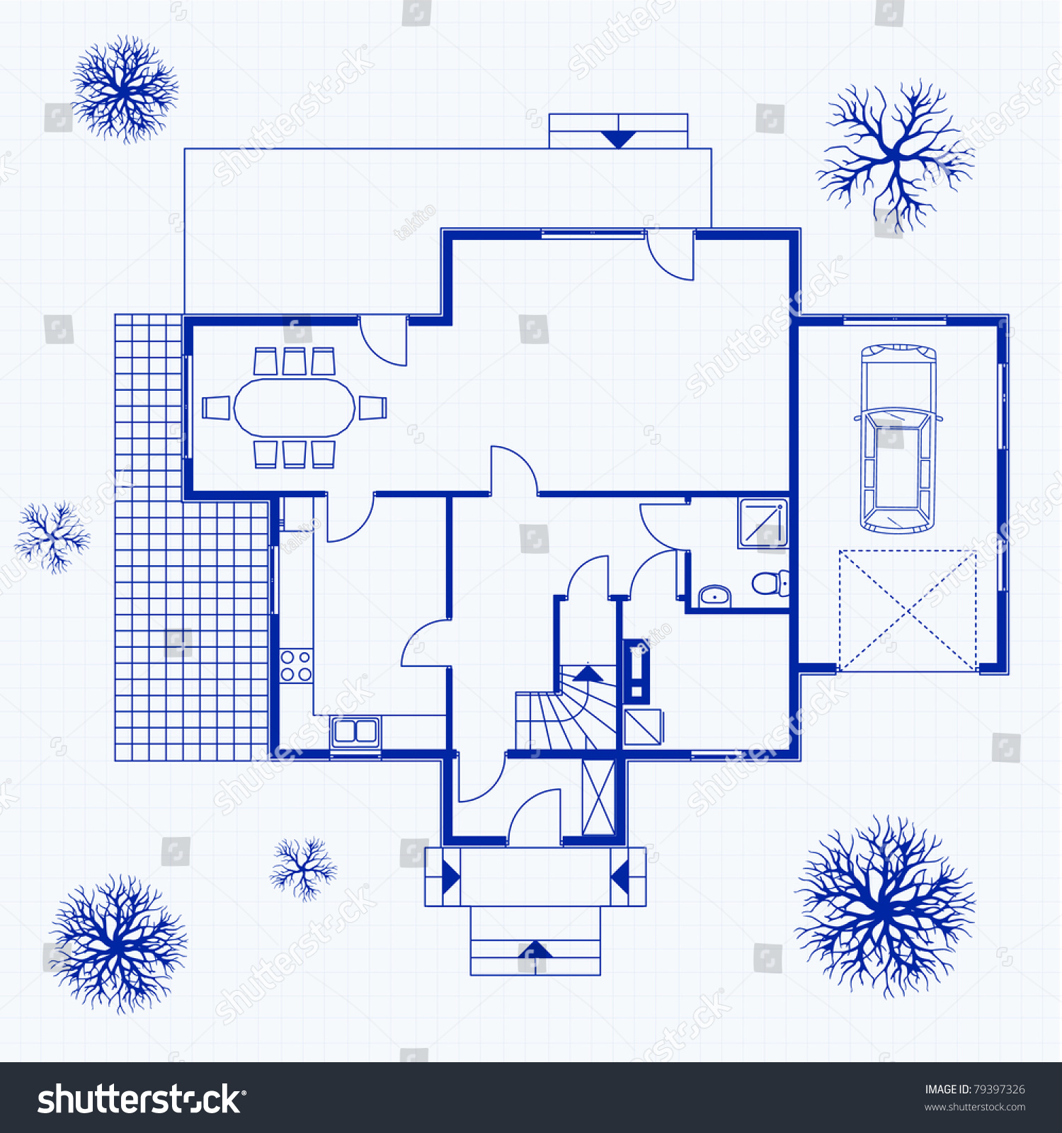 House blueprint with exterior and interior vector illustration
