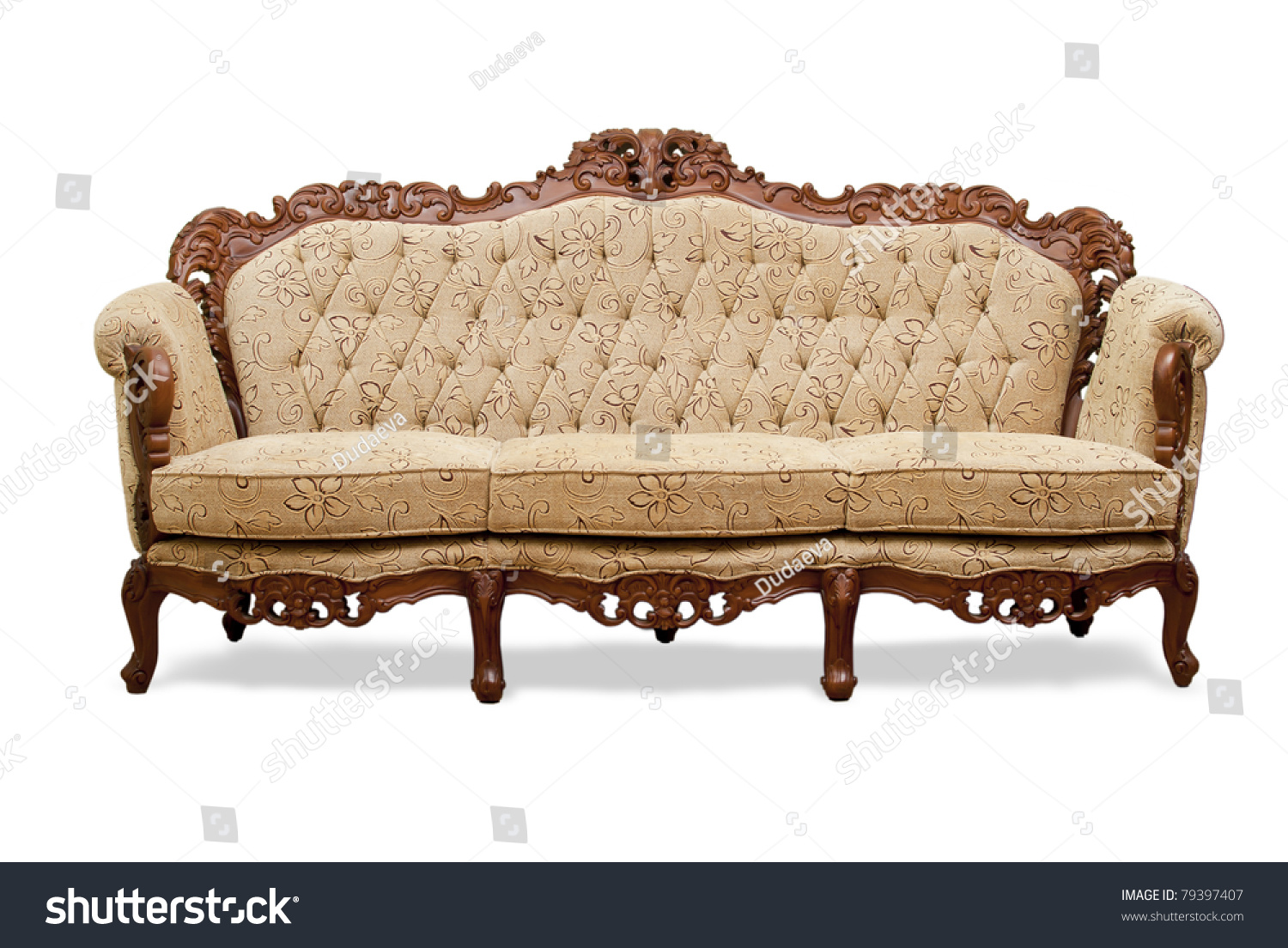 Classical carved wooden sofa upholstered leather stock