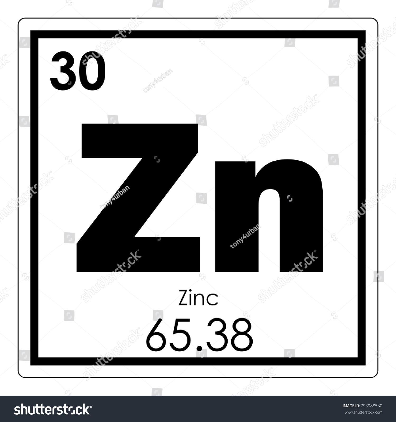 Zinc Chemical Element Periodic Table Science Stock Illustration