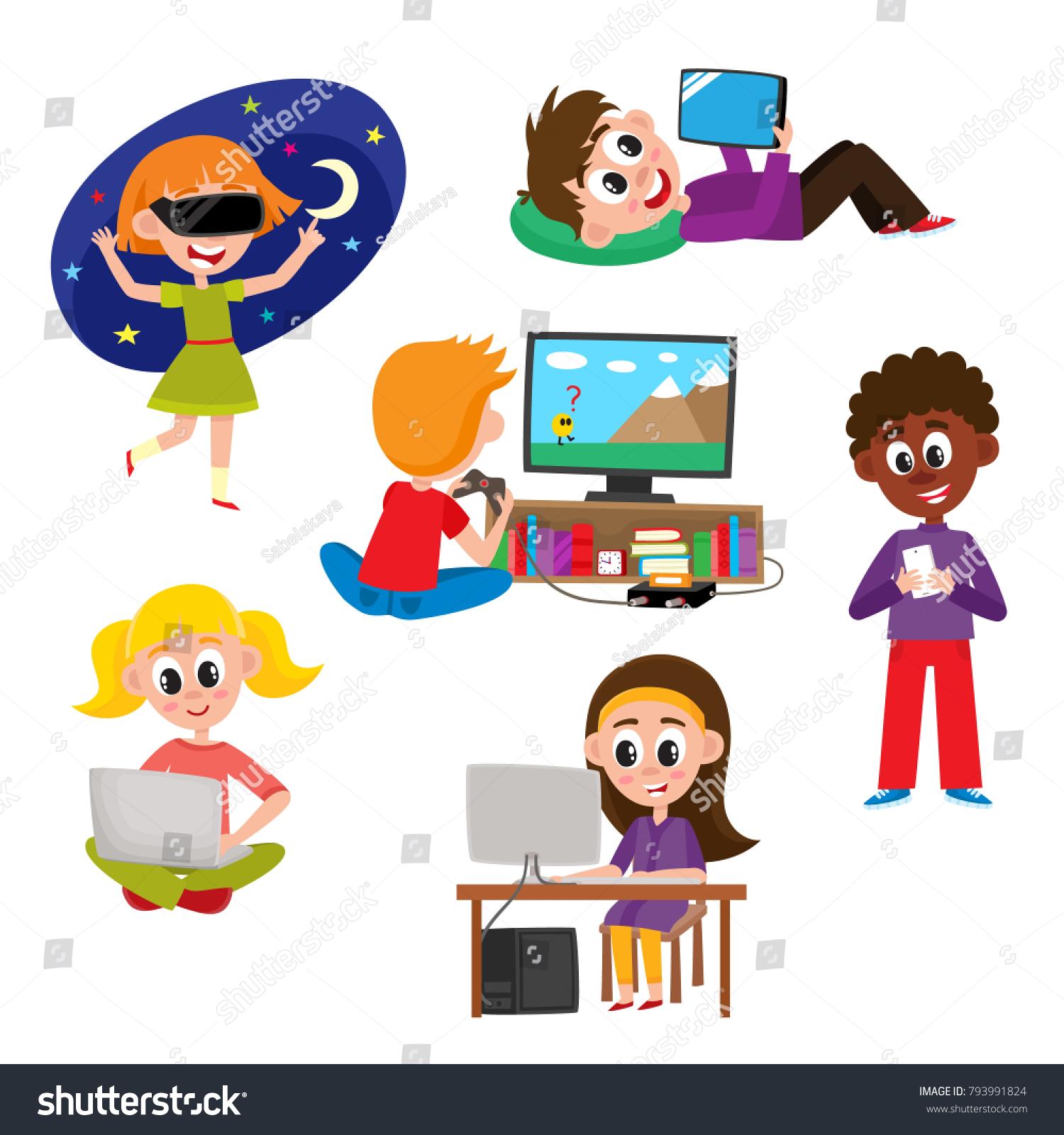Set Kids Children Teens Gadgets Computer Stock Vector Royalty Free - Computer game design for kids