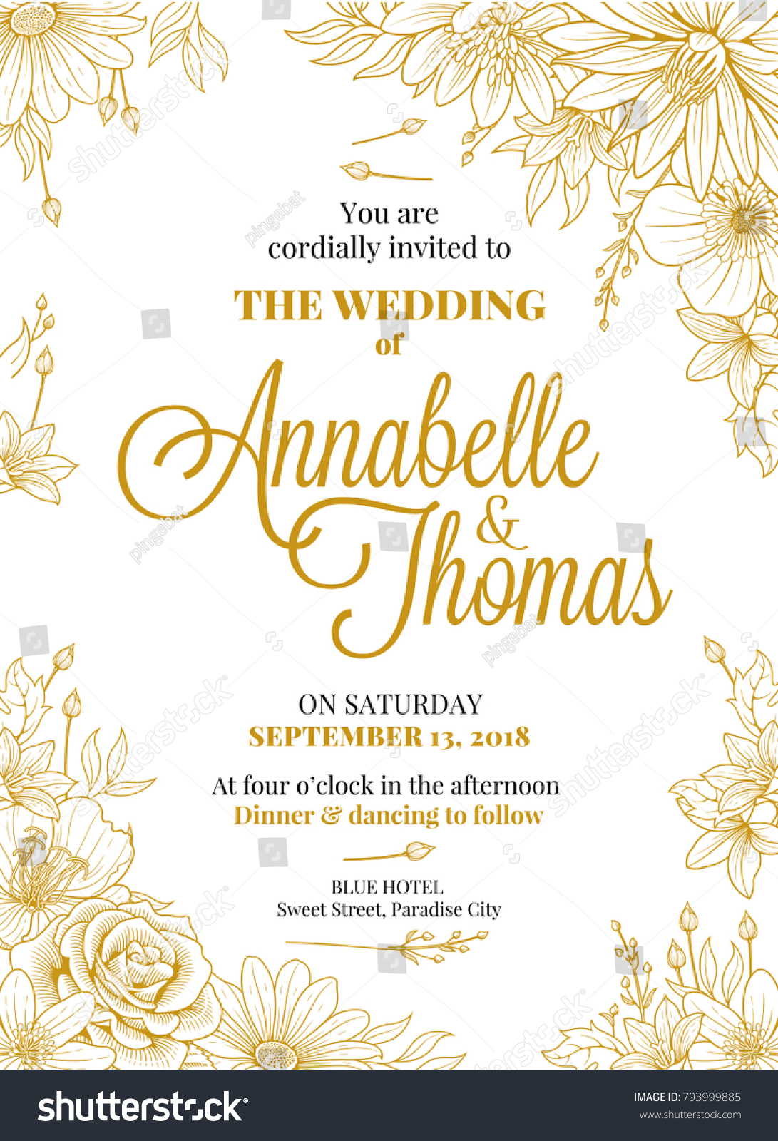 Wedding Invitation Greeting Card Design Beutifully Stock Vector ...