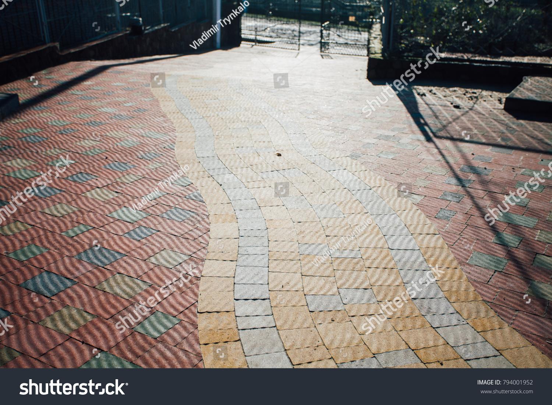 Garden Patio Backyard Stone Brick Pavers Stock Photo Edit Now