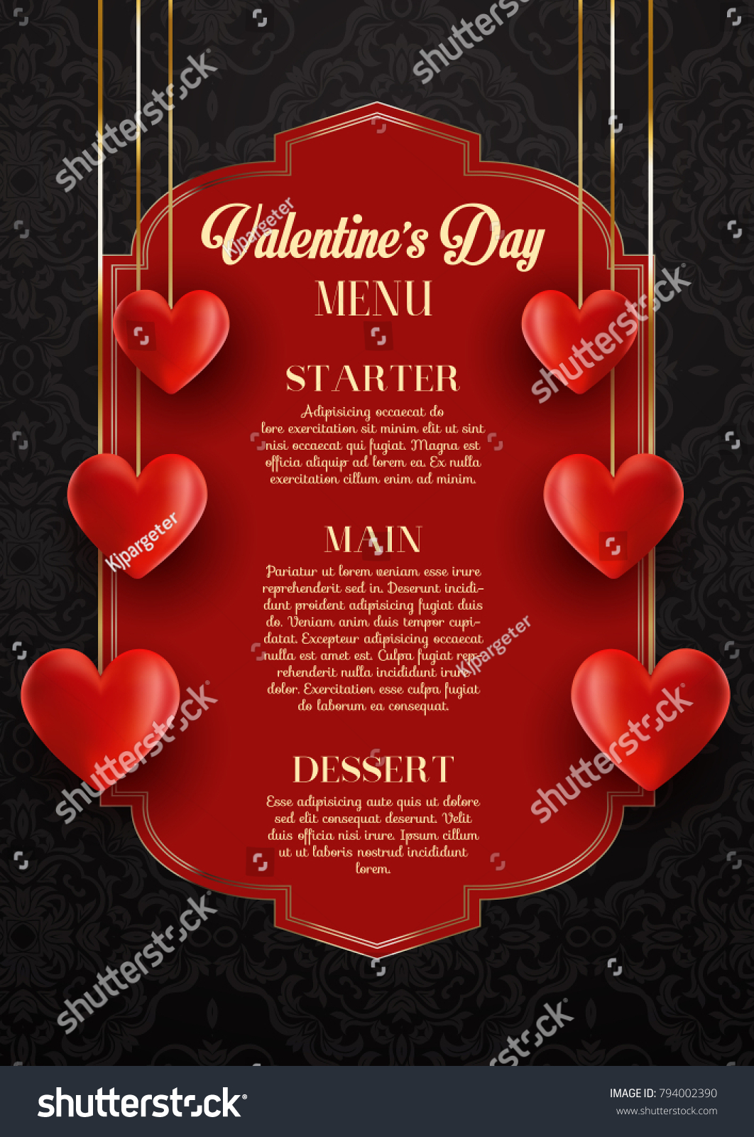elegant menu design valentines day stock vector royalty free