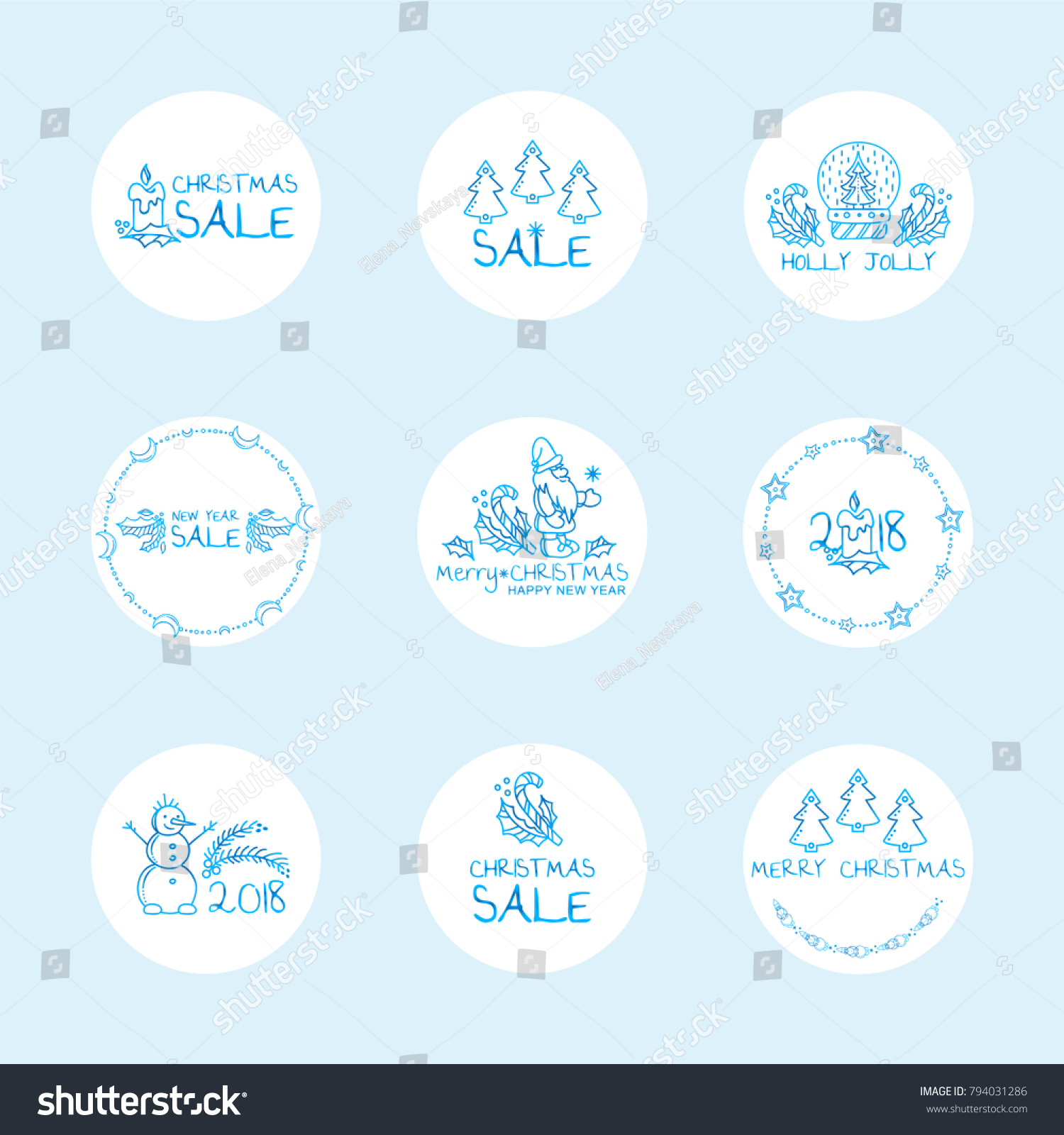 vector set of cute round labels stickers for christmas decoration blue frozen design - Cute Christmas Captions