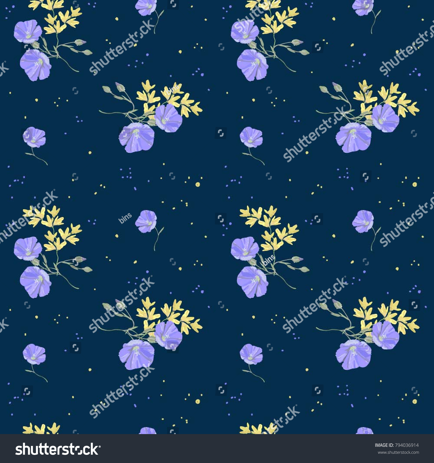 Yellow Blue Flowers On Deep Background Stock Vector 794036914